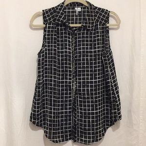 Elle Small Blouse Black and white squares NWT